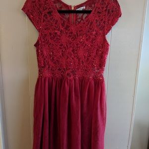 Charlotte Russe. Red lace and sequence party dress
